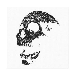 Projeto preto e branco do crânio impressão em tela