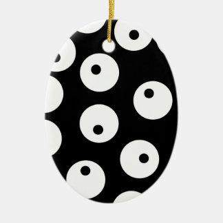 Projeto preto e branco retro do círculo ornamento de cerâmica oval