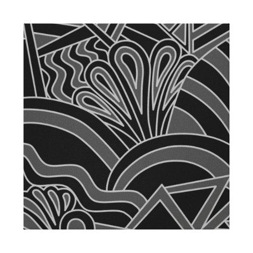 Projeto preto e cinzento do art deco impressão de canvas envolvidas