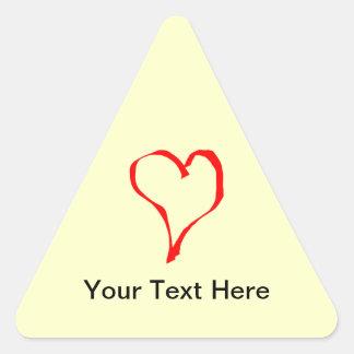Projeto vermelho e de creme do coração do amor adesivo triangular