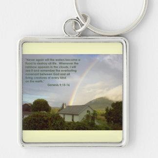 Promessa do arco-íris chaveiro quadrado na cor prata