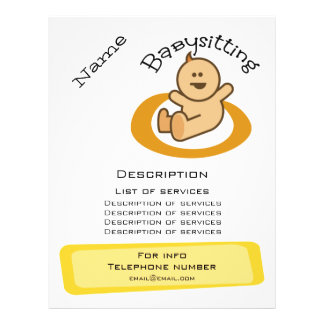 Promoção Babysitting Flyer 21.59 X 27.94cm