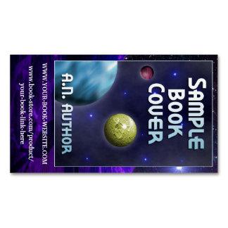 Promoção do autor da ficção científica com capa do
