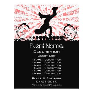 Promoção do evento da dança de ruptura flyer 21.59 x 27.94cm