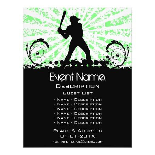 Promoção do evento do basebol modelo de panfleto