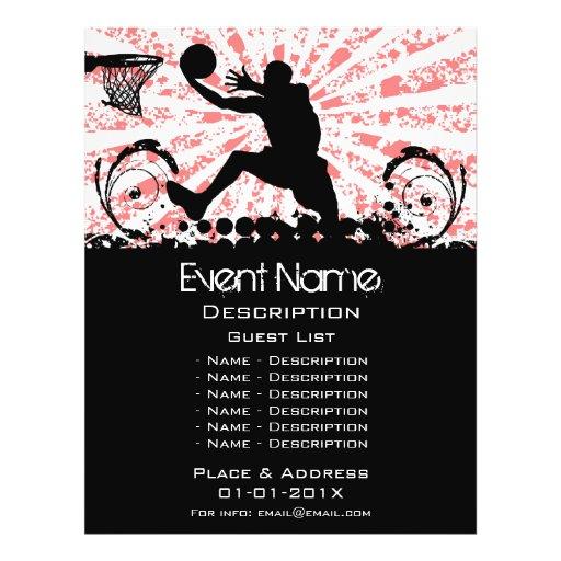 Promoção do evento do basquetebol panfletos personalizados