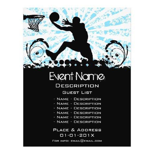 Promoção do evento do basquetebol panfleto