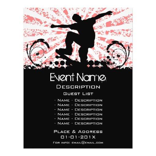 Promoção do evento do skate panfletos personalizados