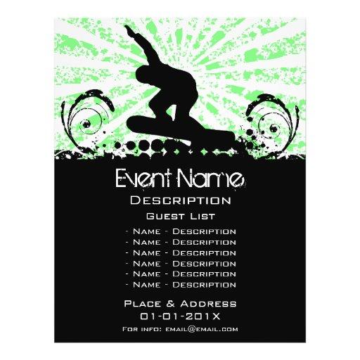 Promoção do evento do Snowboard Panfleto Coloridos