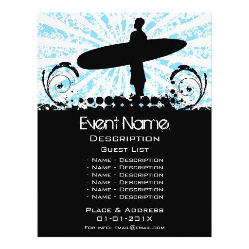 Promoção do evento do surf modelos de panfleto