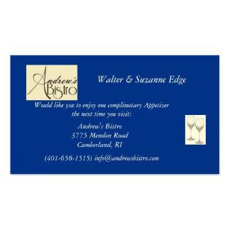 Promoção do restaurante cartões de visita