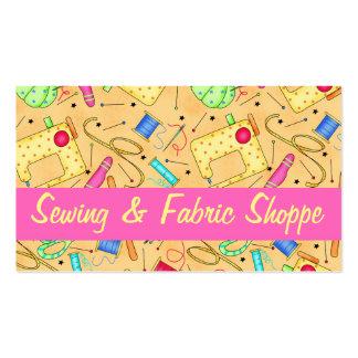 Promoção Sewing amarela da loja do tecido da arte Cartão De Visita