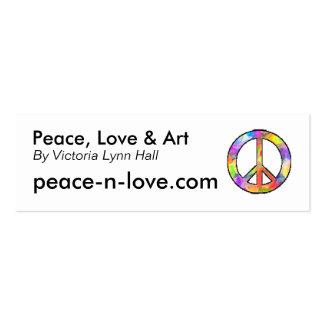 Promocional da paz, do amor & da arte cartão de visita skinny