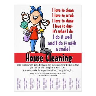 Promocional do costume da limpeza da casa panfleto