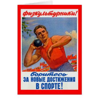 Propaganda atlética soviética cartão comemorativo