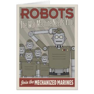 Propaganda das forças armadas do robô do estilo do cartão comemorativo