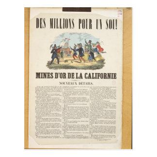 Propaganda de poster as minas de ouro em cartão postal