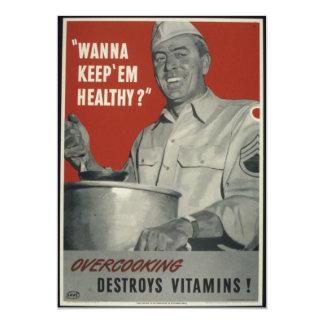 Propaganda do americano do vintage WWII Convite 12.7 X 17.78cm