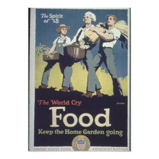 Propaganda do fazendeiro da comida do vintage para convite 12.7 x 17.78cm