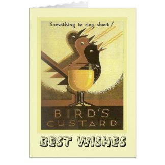 Propaganda do vintage, creme dos pássaros cartão