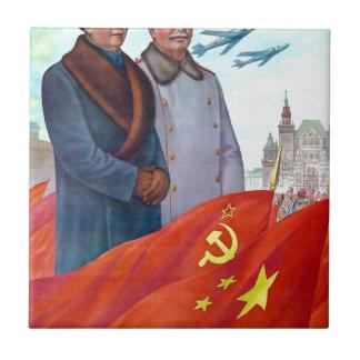 Propaganda original Mao Zedong e Josef Stalin