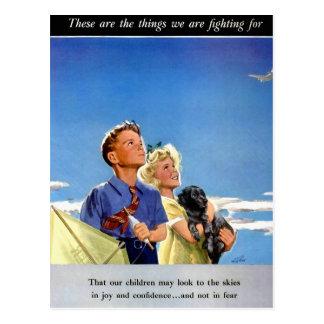 Propaganda retro do kitsch do vintage o que nós cartão postal