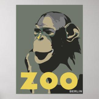 Propaganda retro do viagem do macaco de Berlim do  Posteres