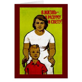 Propaganda soviética da família cartão comemorativo