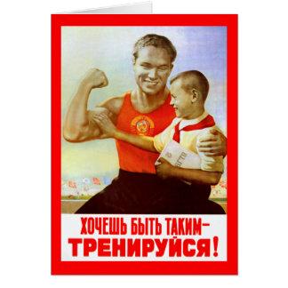 Propaganda soviética do exercício cartão comemorativo