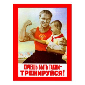 Propaganda soviética do exercício cartão postal