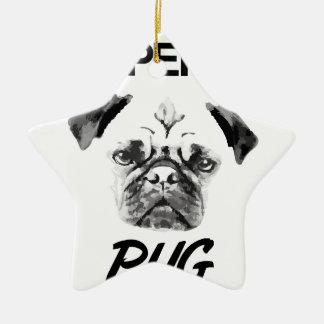 Propriedade de meu Pug Ornamento De Cerâmica