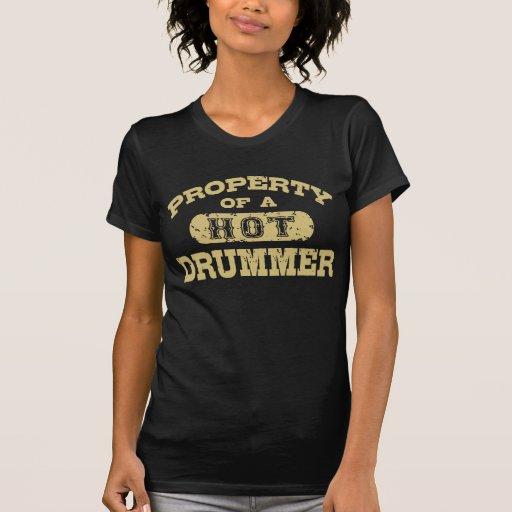 Propriedade de um baterista quente camisetas