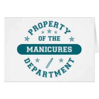 Propriedade do departamento dos Manicures Cartões