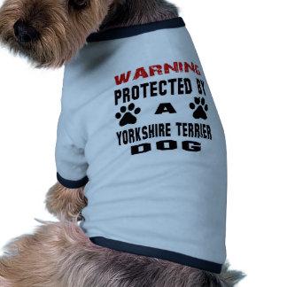 Protegido por um cão do yorkshire terrier camisa ringer para cachorro
