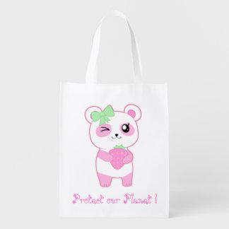 Proteja nosso planeta com a panda bonito do rosa sacolas reusáveis