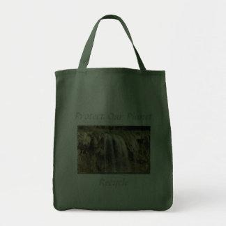 Proteja nosso planeta, reciclar sacola tote de mercado
