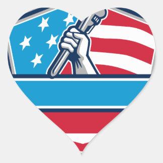 Protetor da bandeira dos EUA da chave de tubulação Adesivo Coração