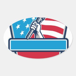 Protetor da bandeira dos EUA da chave de tubulação Adesivo Oval