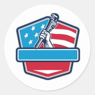 Protetor da bandeira dos EUA da chave de tubulação Adesivo Redondo