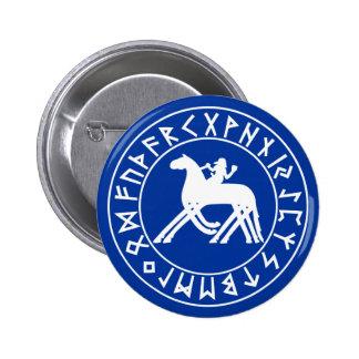 protetor de Sleipnir do botão no preto Bóton Redondo 5.08cm