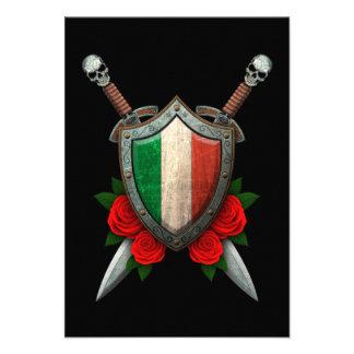 Protetor e espadas italianos gastos da bandeira co convites personalizados