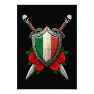 Protetor e espadas italianos gastos da bandeira convite 8.89 x 12.7cm