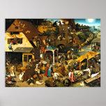Provérbio de Netherlandish, pintura de Pieter Brue Poster