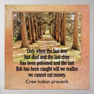 Provérbio do indiano do Cree --- impressão da arte