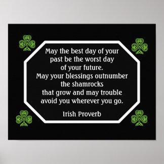 Provérbio irlandês - o melhor dia -- Impressão da