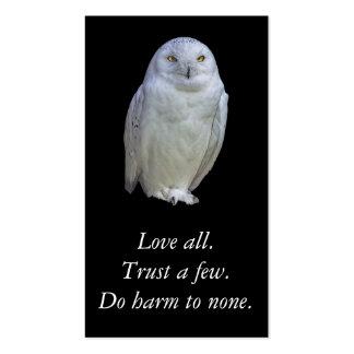 Provérbio sábio da coruja branca. Shakespeare. Cartão De Visita