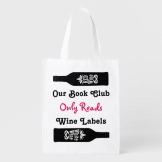 Provérbios engraçados do vinho do clube de leitura sacolas ecológicas