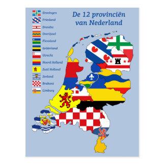 Province flag on Map Holland Cartão Postal