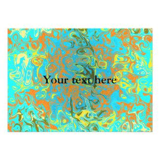 Psicadélico marrom moderno na luz - fundo azul convites personalizado