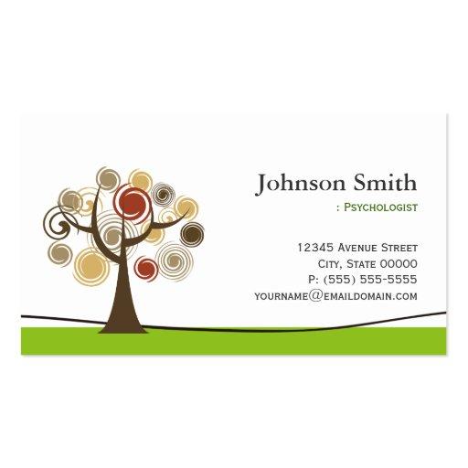 Psicólogo - árvore elegante do símbolo da vida modelos cartão de visita